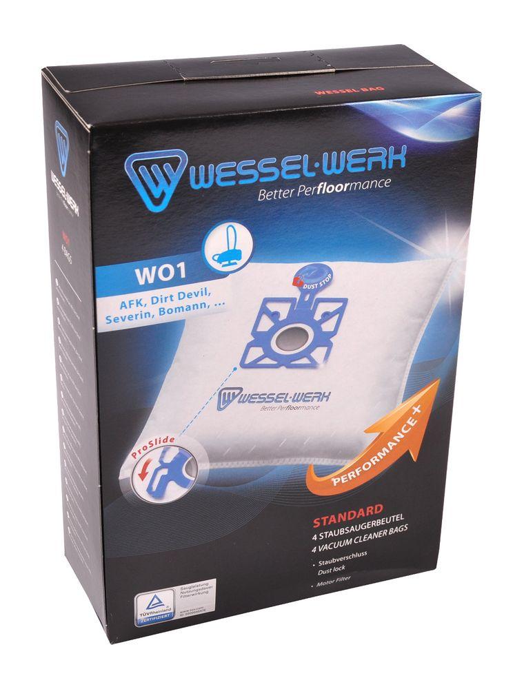 Wessel-Werk WO1 4 Staubsaugerbeutel für Dirt Devil Privileg Severin Bomann Swirl