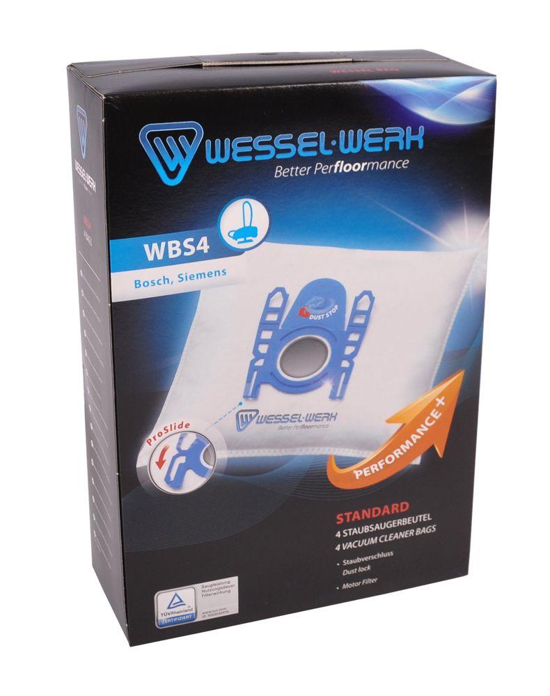 Wessel-Werk WBS4 4 Staubsaugerbeutel für Bosch und Siemens mit Staubverschluss