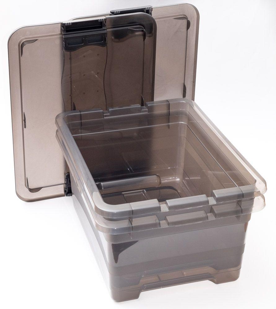 2er anthrazit Set Aufbewahrungskiste 12 Liter Aufbewahrungsbox Stapelbox