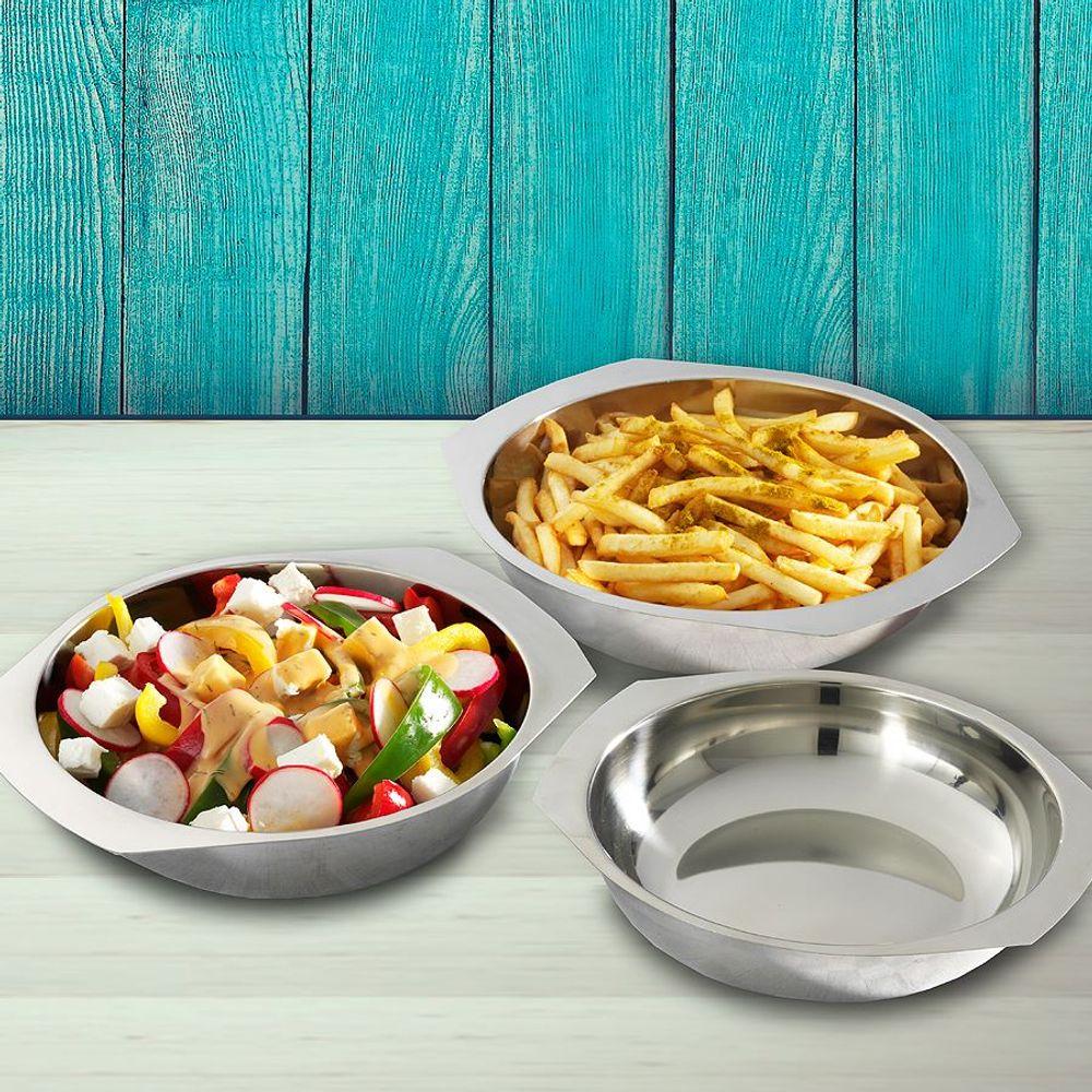 Edelstahl Servierschalen 3er-Set Schüsselsatz Salatschüssel Snackschale Schüssel – Bild 1