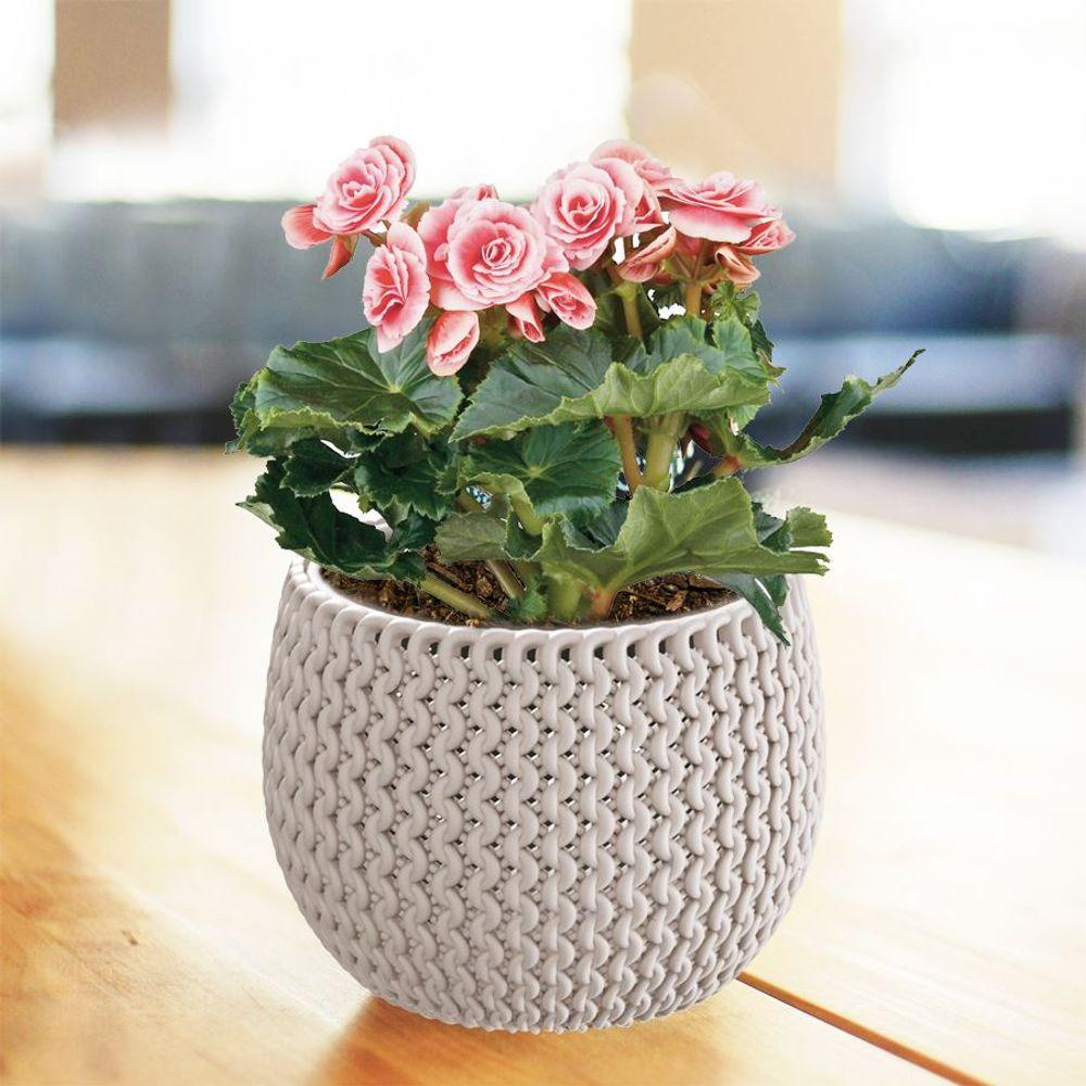 Blumentopf mocca taupe Strickmuster Pflanztopf Pflanzkübel Blumenkübel Übertopf  – Bild 1