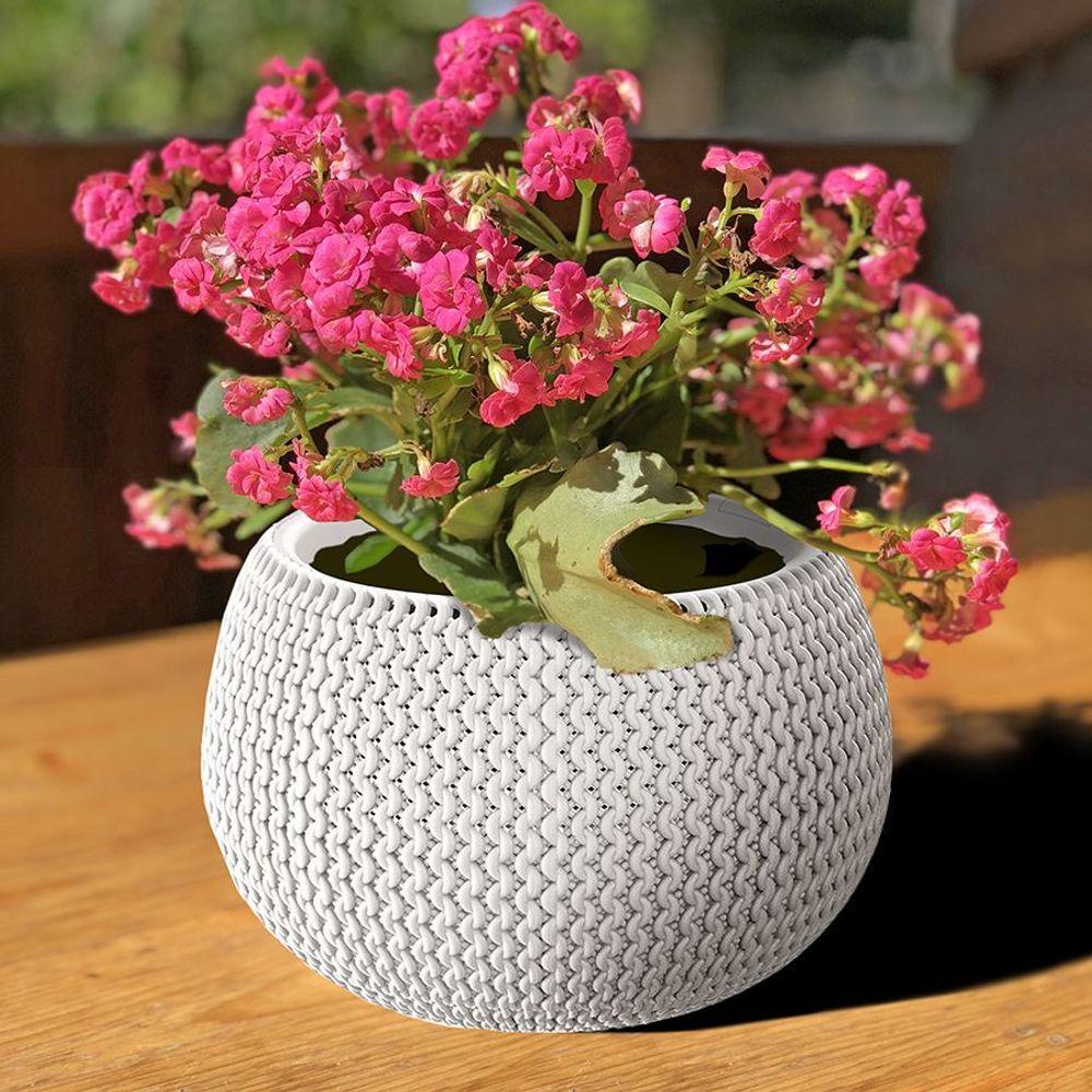 Blumentopf weiß Strickmuster Pflanztopf Pflanzkübel Blumenkübel Übertopf Garten – Bild 1