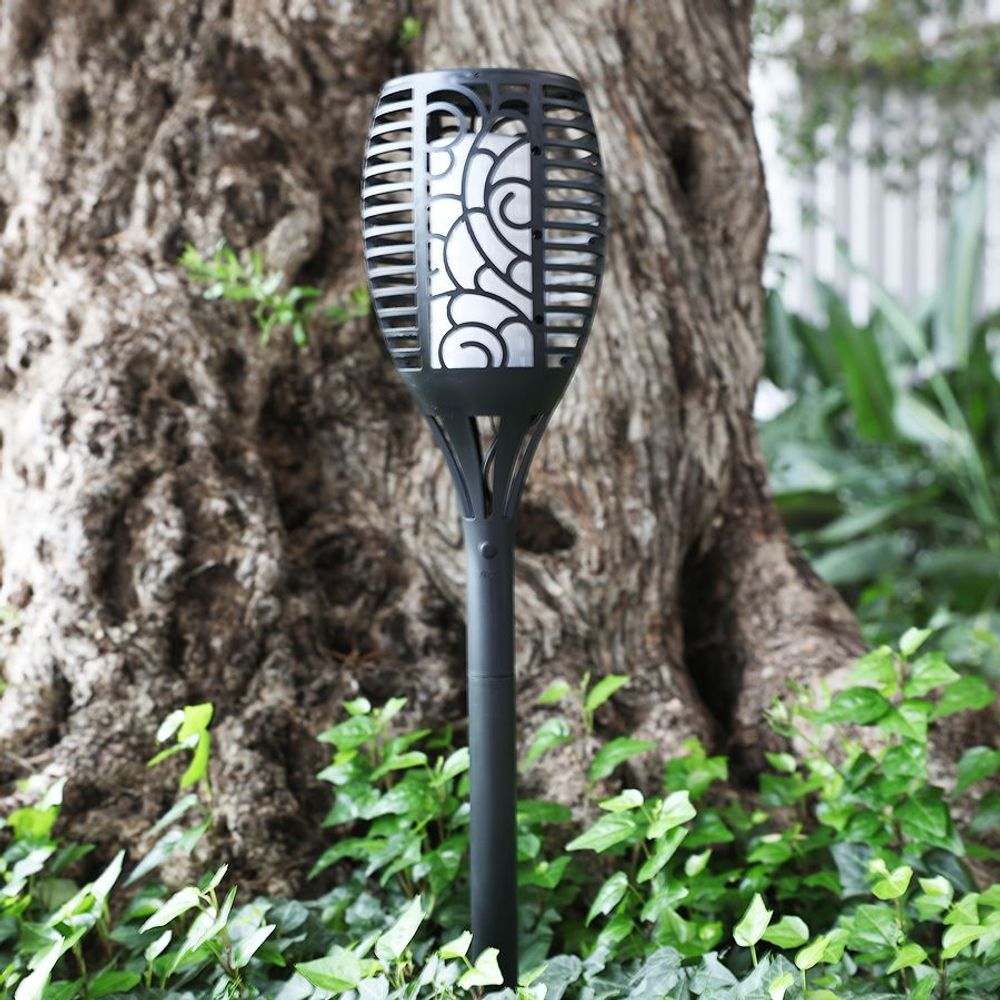 Solar Gartenfackel Rattanoptik Gartenlampe Gartenlaterne Solarleuchte Solarlampe – Bild 2