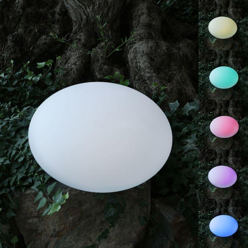 Solar-LED-Gartenleuchte Kiesel 35x23cm Stein Gartenlampe Gartendeko Farbwechsler – Bild 1