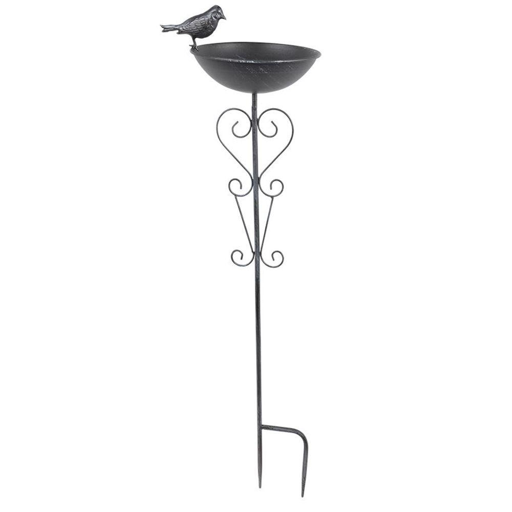 Metall Gartenstecker Vogeltränke Vogelbad Wasserstelle Futterschale Gartendeko – Bild 1