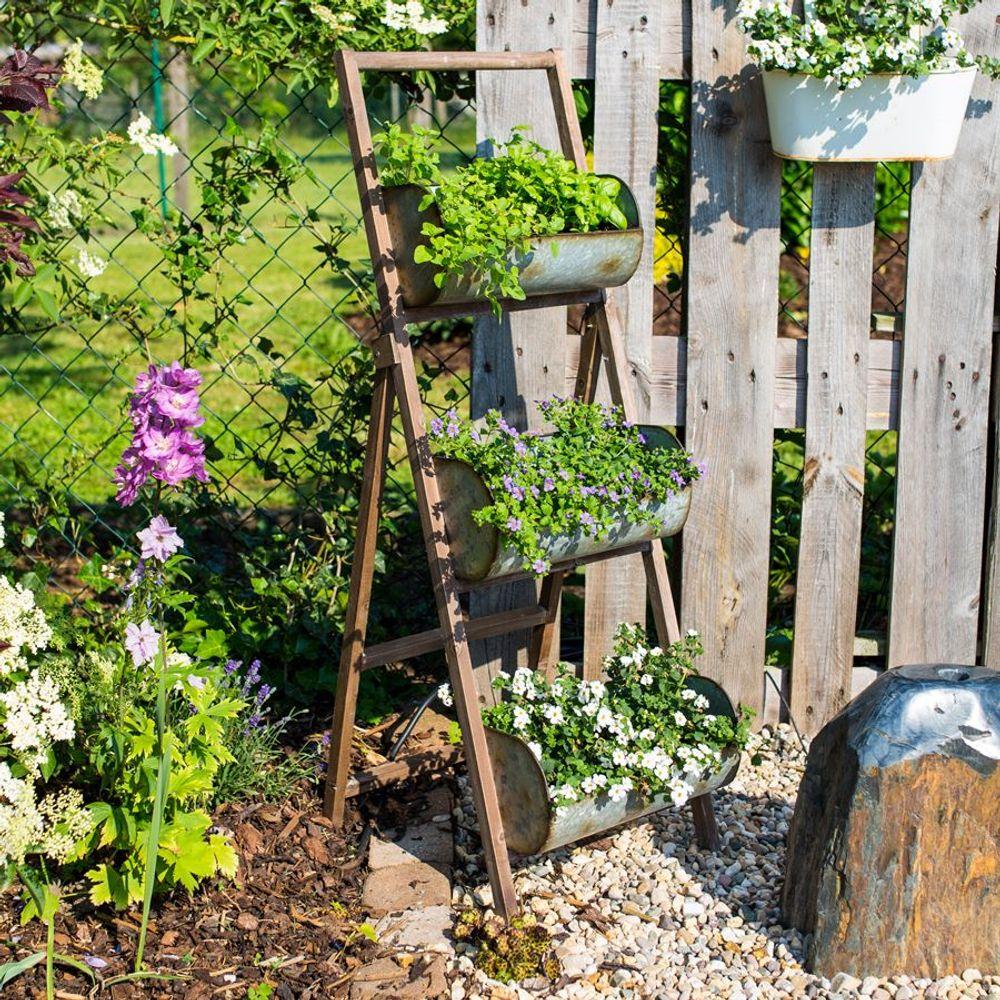 Pflanztreppe mit 3 Zink Pflanztöpfen Blumenständer Pflanzenständer Blumenkasten – Bild 1