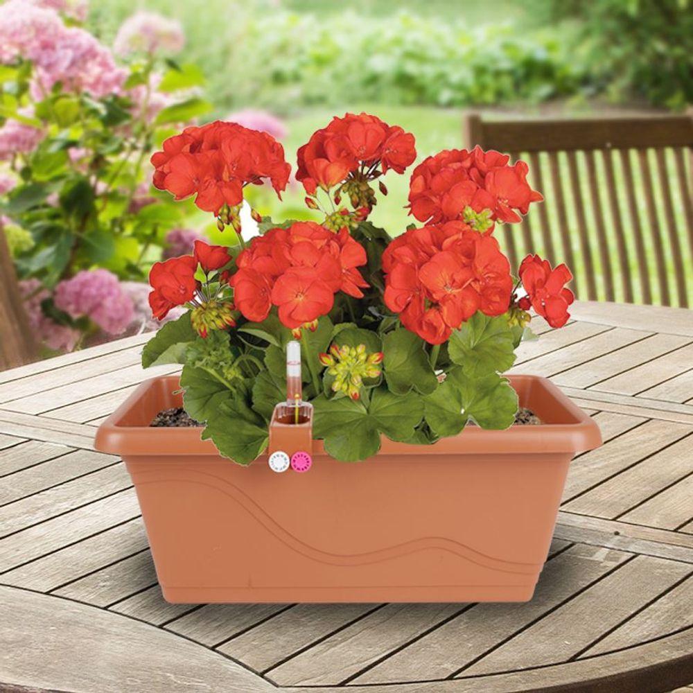 Blumenkasten Terrakotta 38,5cm Balkonkasten Pflanzkasten Blumentopf Bewässerung  – Bild 1