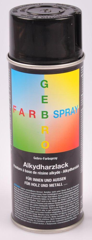 Gebro Farbspray 400ml Lackspray Sprühfarbe Alkydharzlack glänzend weiß schwarz  – Bild 2