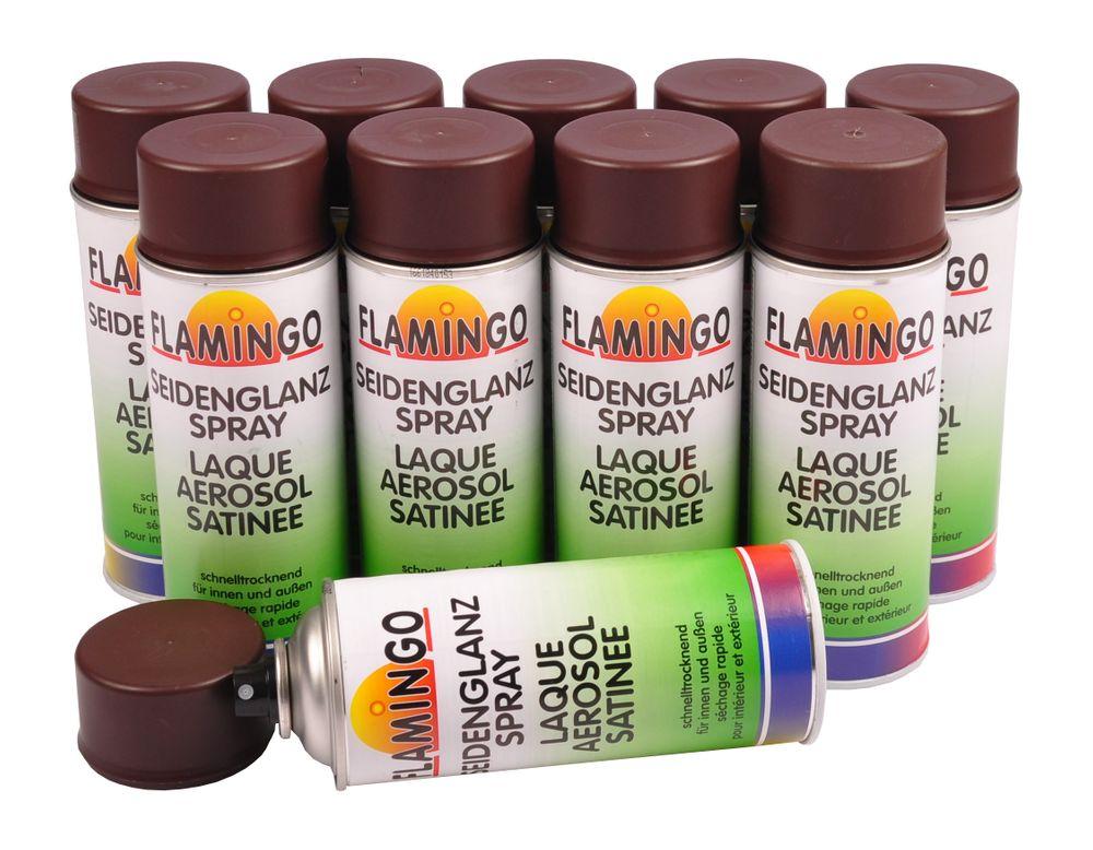 10x Flamingo Kunstharz-Lackspray Schoko Braun matt 400ml Farbspray Sprühdose