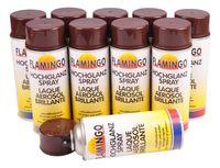 10x Flamingo Kunstharz-Lackspray Schoko Braun glänzend 400ml Farbspray Sprühdose 001