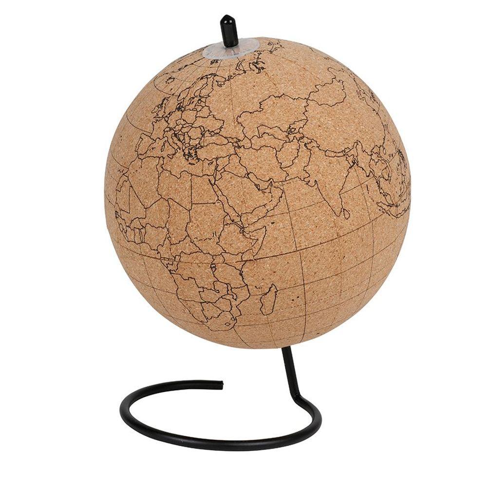 Globus aus Kork mit Pins und Kreide Ø15cm Tischglobus Weltkugel Deko Planer  – Bild 2