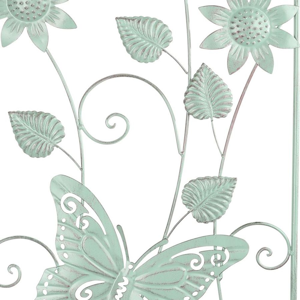 Metall Rankhilfe Schmetterling Blüte Blumenspalier Rankgitter Kletterhilfe grün – Bild 2