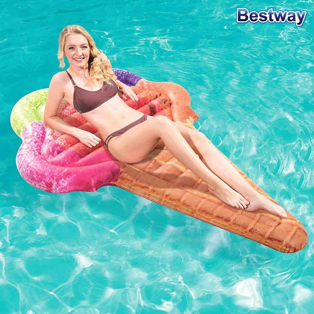 Bestway Luftmatratze Waffeleis Schwimmmatratze Wasserliege Eiswaffel Eistüte – Bild 1