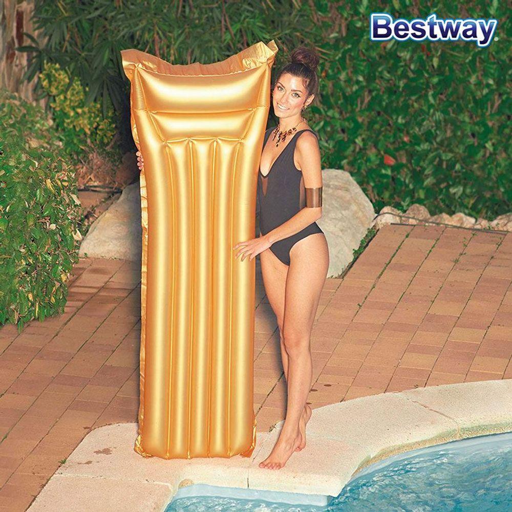 Bestway Luftmatratze Gold Schwimmmatratze Wasserliege Luftbett Gästebett Camping – Bild 1
