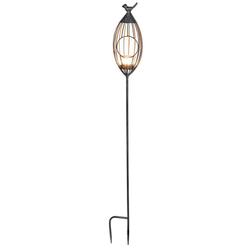 Metall-Gartenstecker Vogelkäfig Windlicht Beetstecker Gartendeko silber grau  – Bild 3