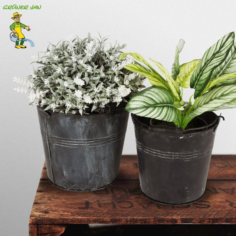 Zink Pflanzeimer 2er-Set antik Zinkeimer Blumentopf Pflanztopf Zinktopf Deko – Bild 1