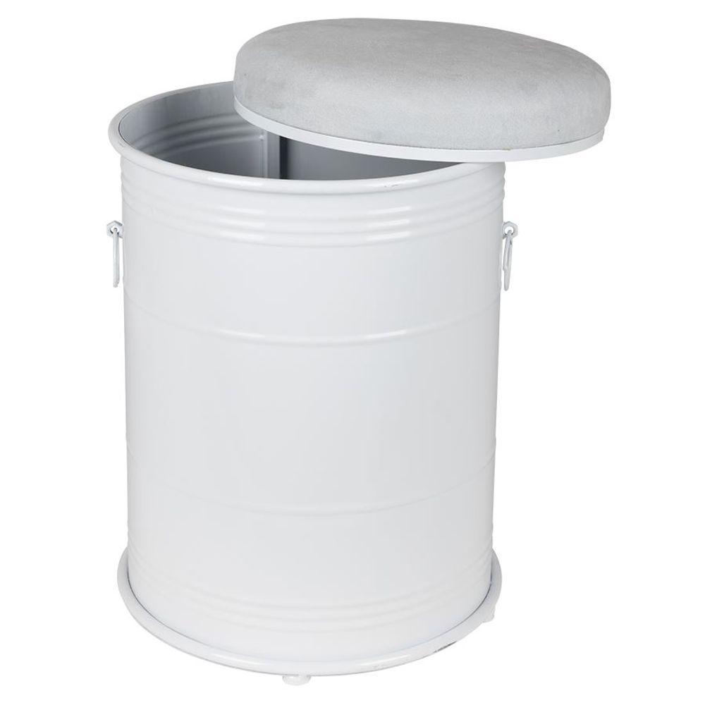 Metall-Sitztonne Sitzhocker Aufbewahrungsbox Polsterhocker Wäschetonne Hocker  – Bild 3