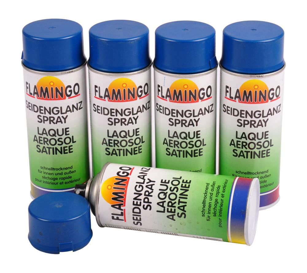 5x Flamingo Kunstharz-Lackspray Enzianblau matt 400ml Farbspray Sprühdose Lack