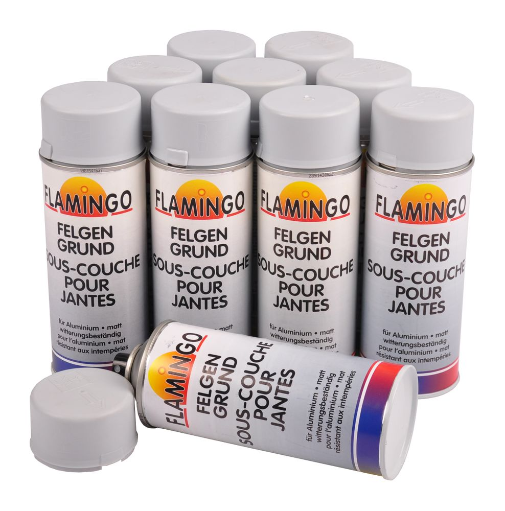 10x Flamingo Aluminium Grundierung Spraydose grau 400ml Grundierspray Haftgrund