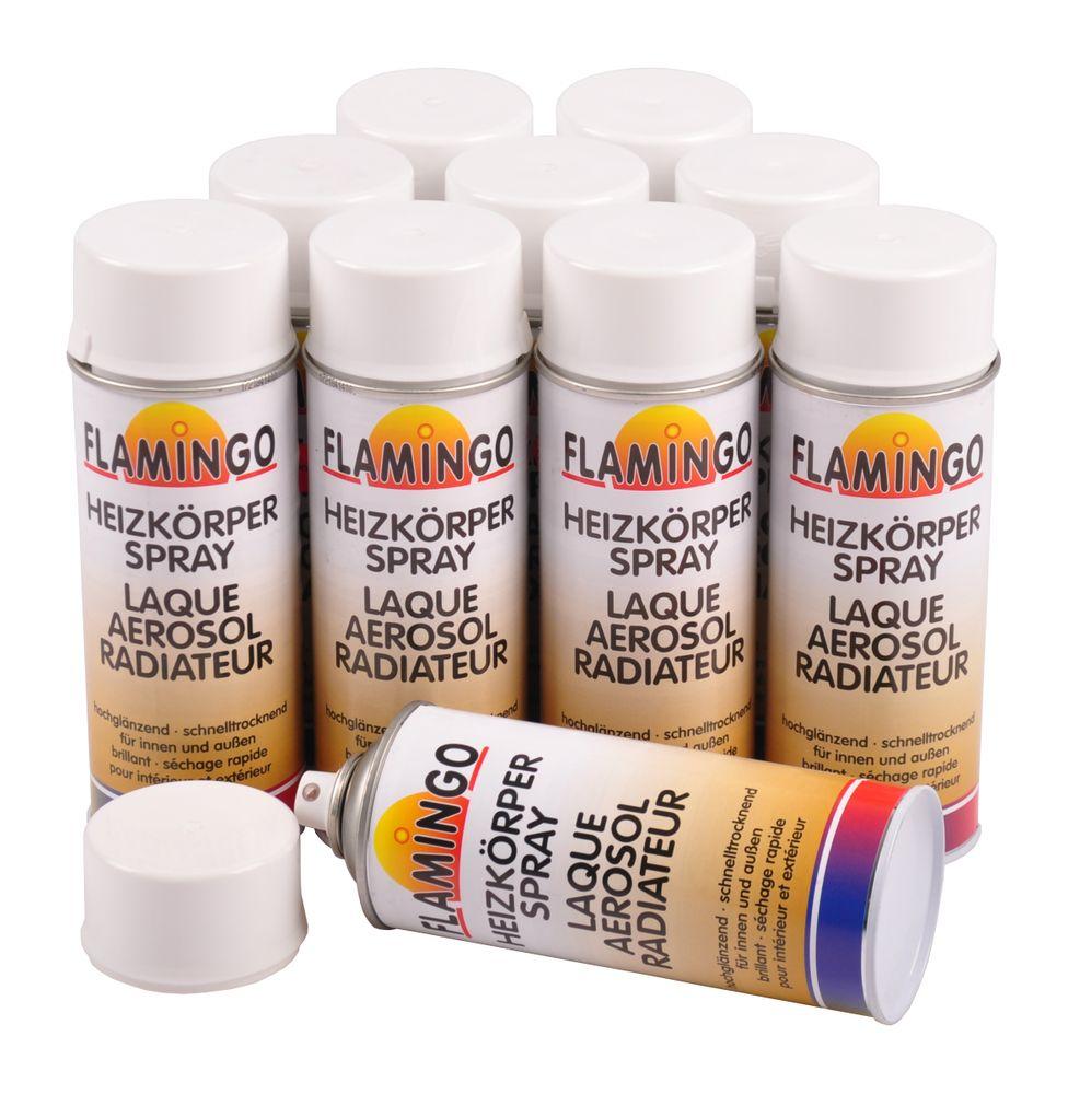 10x Spraydose 400 ml Heizkörper Lackspray glänzend wärmebeständig weiß Spray