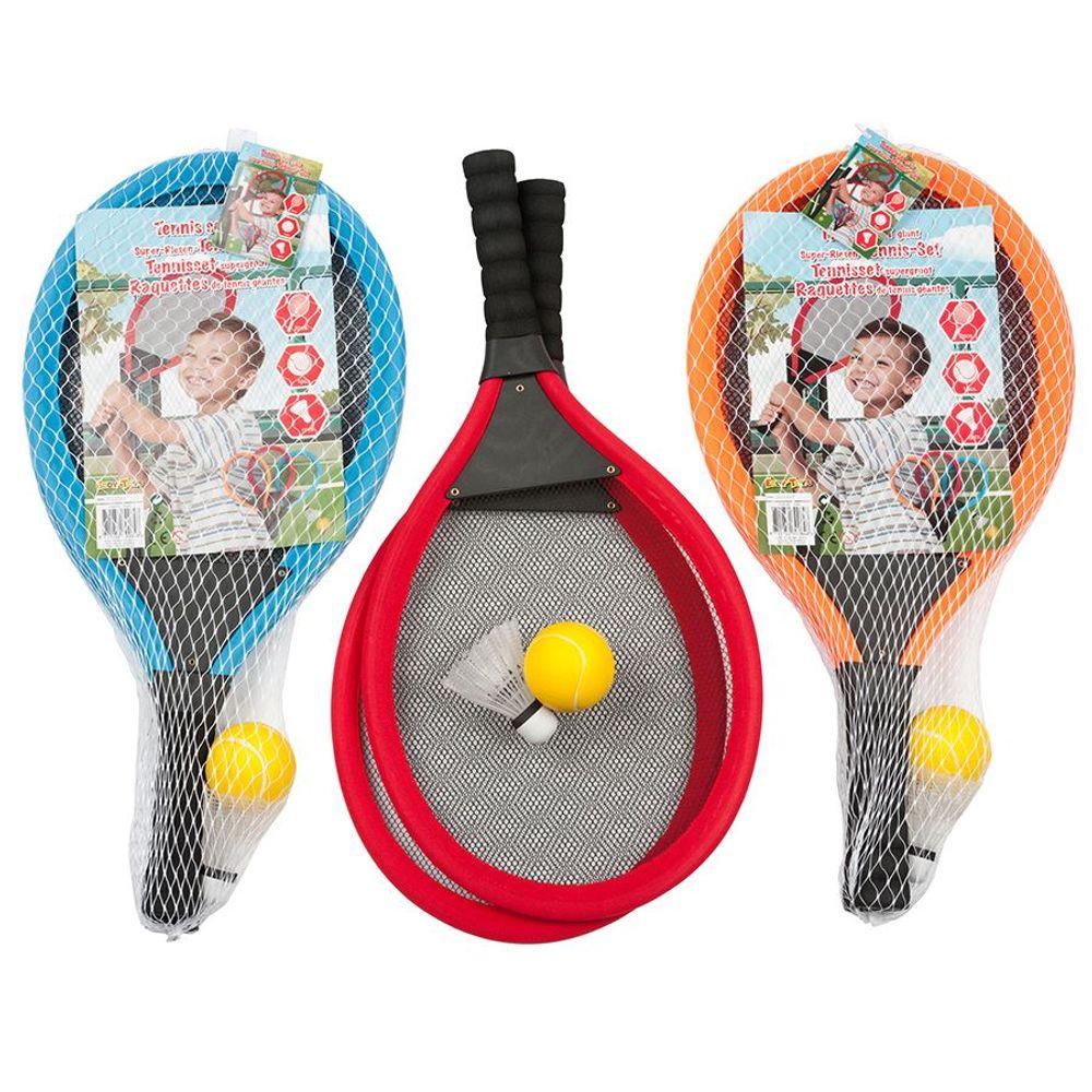 Soft-Tennis-Set 4-teilig Jumbo-Tennisschläger Federball Softball Ball Spiele-Set – Bild 6