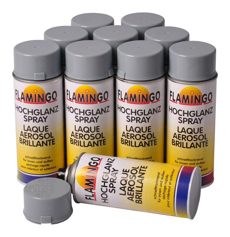 10x Kunstharz Lackspray silbergrau RAL 7001 glänzend 400ml Farbspray Sprühdose – Bild 1