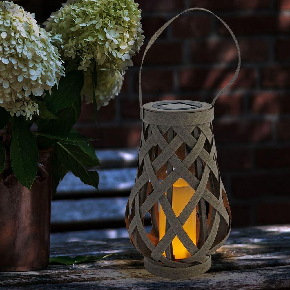 Solar Gartenlaterne Rattanoptik Flackerkerze Gartenleuchte Gartendeko Solarlampe – Bild 2
