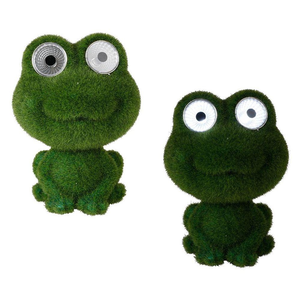 Dekofigur mit Leuchtaugen grün Frosch Eule Hund LED Solarlampe Gartenfigur Deko – Bild 2