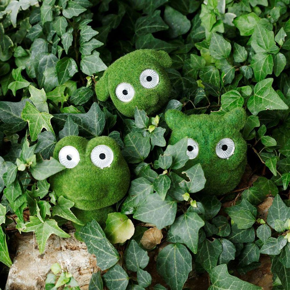 Dekofigur mit Leuchtaugen grün Frosch Eule Hund LED Solarlampe Gartenfigur Deko – Bild 5