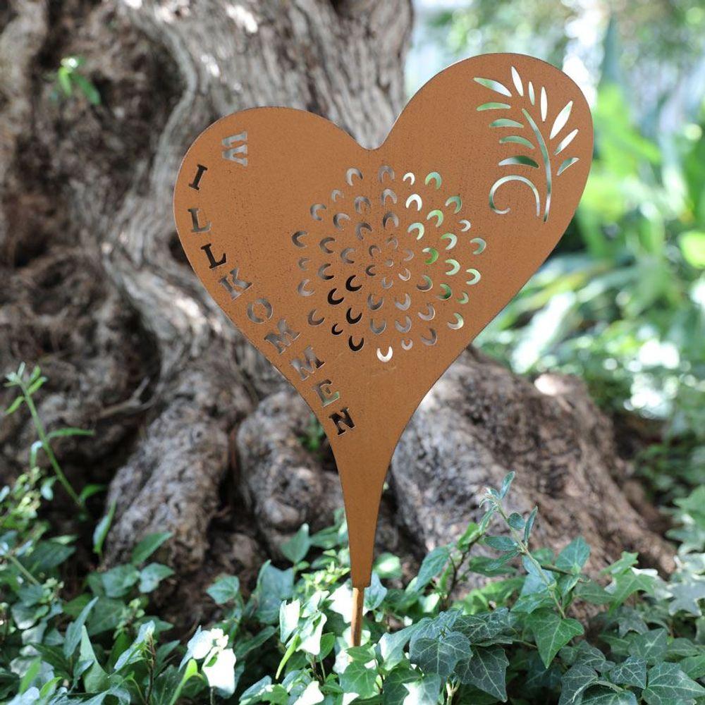 Metall-Gartenstecker Herz Willkommen Rostbraun Beetstecker Gartendeko rustikal – Bild 1