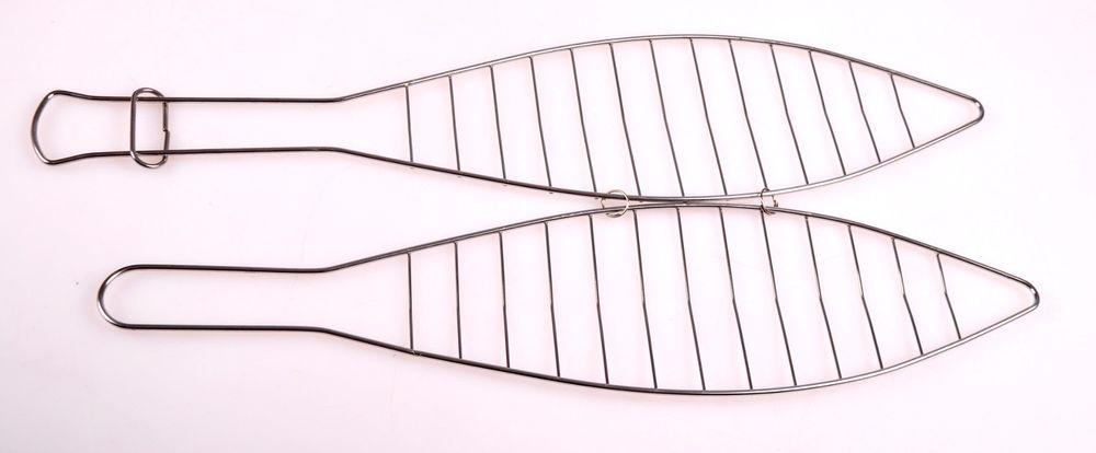 Edelstahl Fischbräter Grill-Fischklammer Grillklammer Fischzange Grillhilfe – Bild 2
