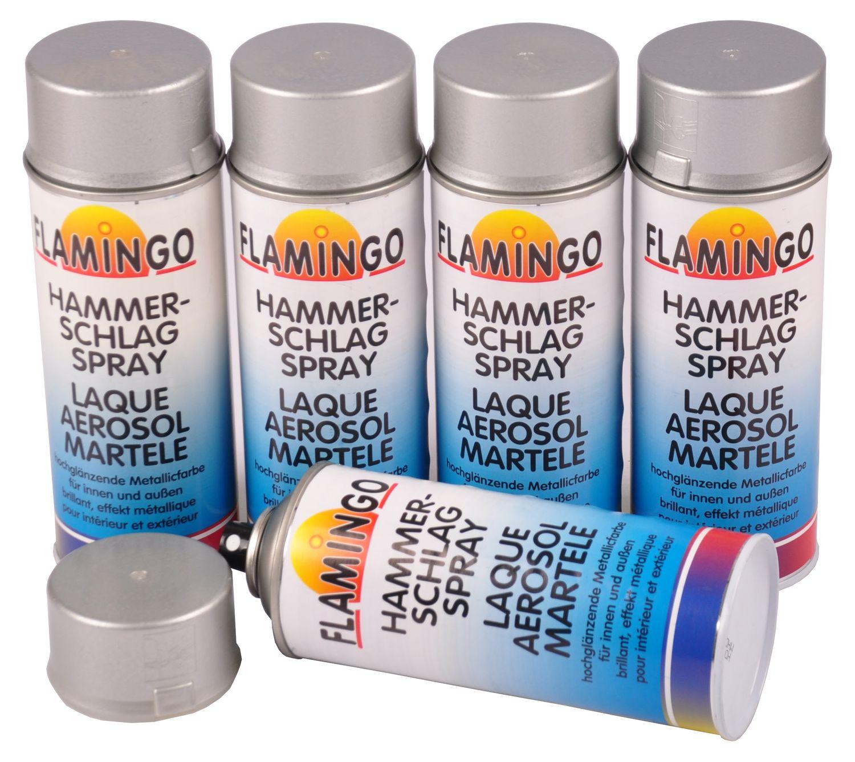 Metallic Effekt Wandfarbe Liter Grundpreis Uackg: 5x Flamingo Hammerschlag Effekt Spray Silber 400ml