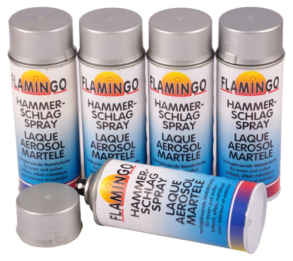 5x Flamingo Hammerschlag Effekt Spray silber 400ml Metallic Farbe glänzend – Bild 1