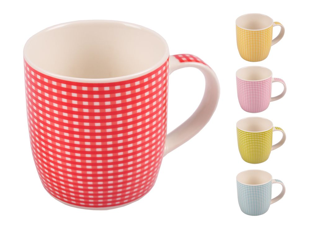 Kaffeetassen kariert aus Porzellan 375ml Kaffeebecher Kaffeetasse Teetasse Tasse – Bild 1