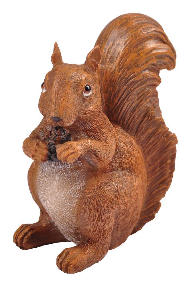 Eichhörnchen mit Zapfen Dekofigur Tierfigur Gartenfigur Gartendeko Herbstdeko
