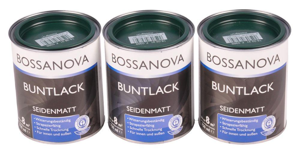 Acryl Buntlack 3x 0,75 L moosgrün matt Metall Holz Lack Mattlack Decklack – Bild 1