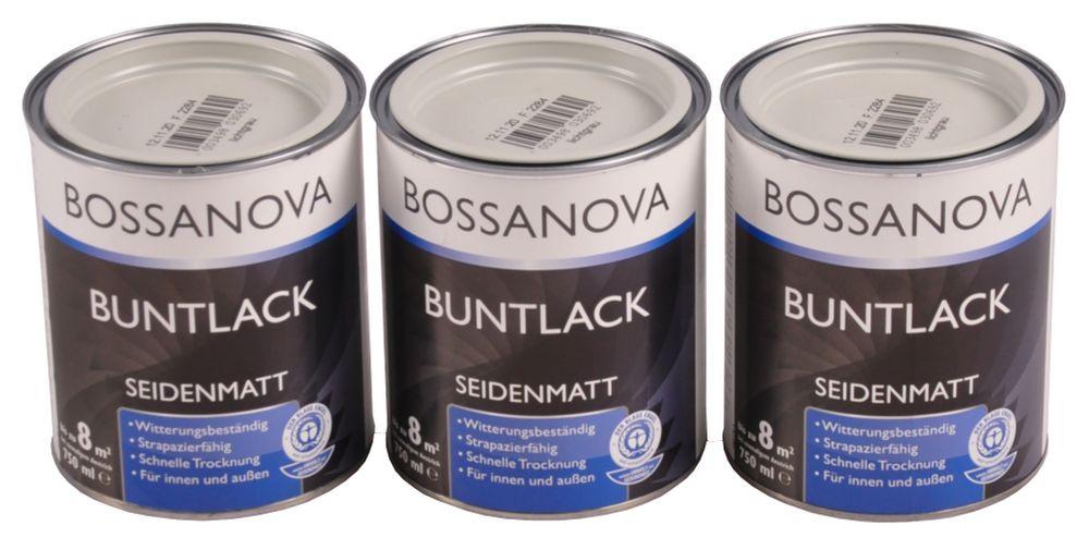 Acryl Buntlack 3x 0,75 L lichtgrau matt Metall Holz Lack Mattlack Decklack grau – Bild 1
