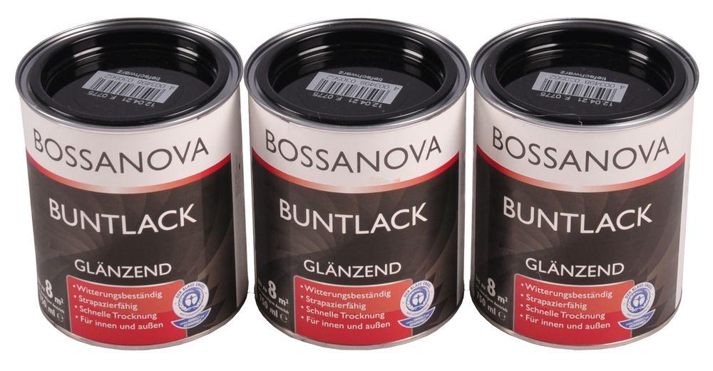 Acryl Buntlack 3x 0,75L tiefschwarz glänzend Metall Holz Lack Glanzlack Decklack – Bild 1