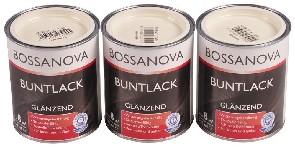 Acryl Buntlack 3x 0,75 L reinweiß glänzend Metall Holz Lack Glanzlack Decklack – Bild 1