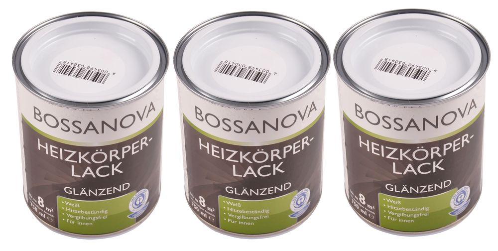 Acryl Heizkörperlack 3x 0,75 L glänzend weiß Heizkörper Decklack hitzebeständig