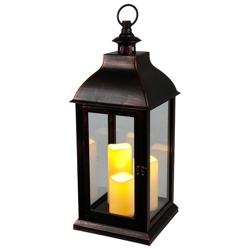 Deko-Laterne schwarz 3 LED-Kerzen Flackereffekt Weihnachtsdeko Gartendeko Timer – Bild 1