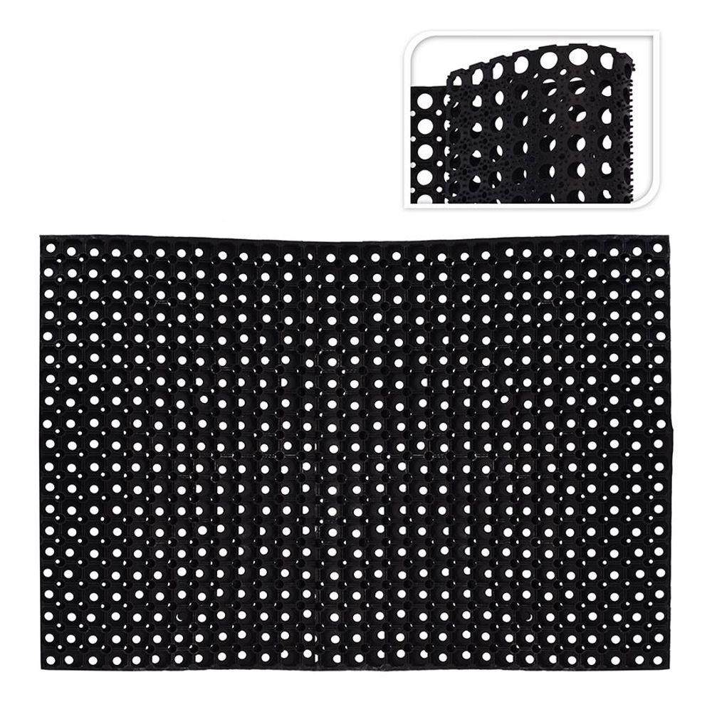 Gummi-Türmatte 120x80x1,2cm Schwarz Fußmatte Fußabtreter Türvorleger Fussmatte  – Bild 1