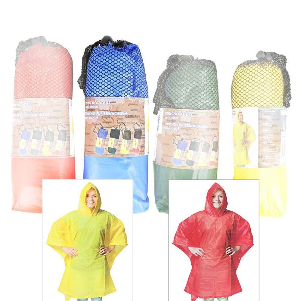 Regenponcho für Erwachsene 100x130cm Regencape Regenschutz Regenmantel Poncho – Bild 2