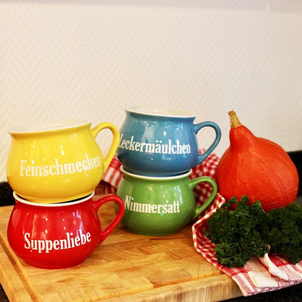 Keramik-Suppentassen 4er-Set Tasse Schüssel Suppenteller Schüsselset Suppentasse – Bild 1