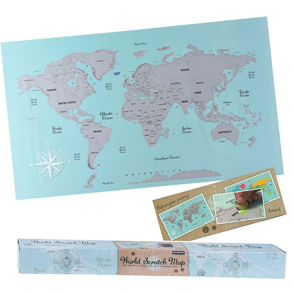 Rubbel-Weltkarte Weltkartenposter 88x52cm Kratzbild Landkarte Poster Wandbild – Bild 1