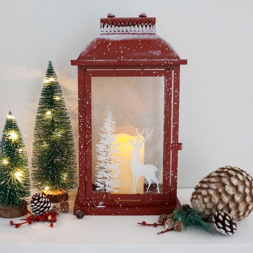 Weihnachtslaterne rot 46cm Weihnachtsdeko Fensterdeko Winterdeko Metall-Laterne – Bild 1