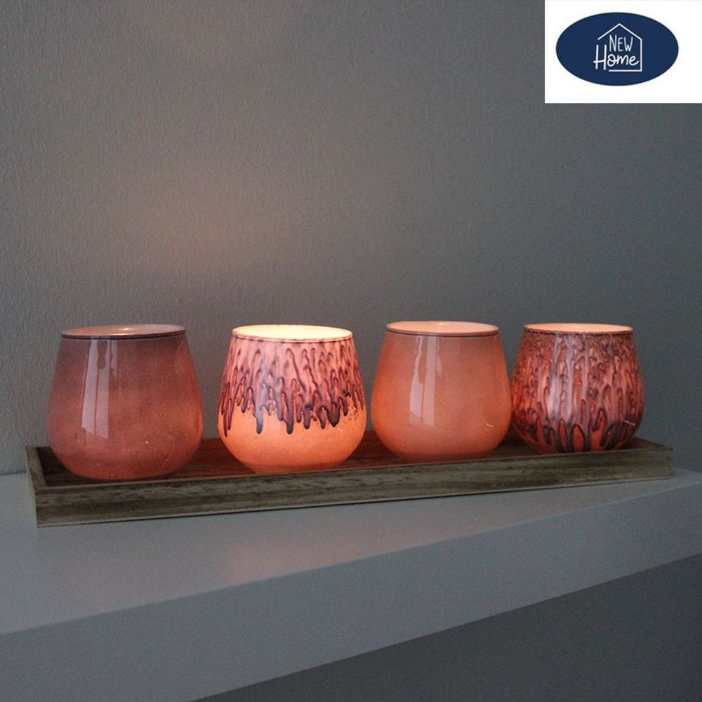 Glaskerzenhalter mit Holztablett Teelichthalter Kerzenständer Windlicht Deko – Bild 2