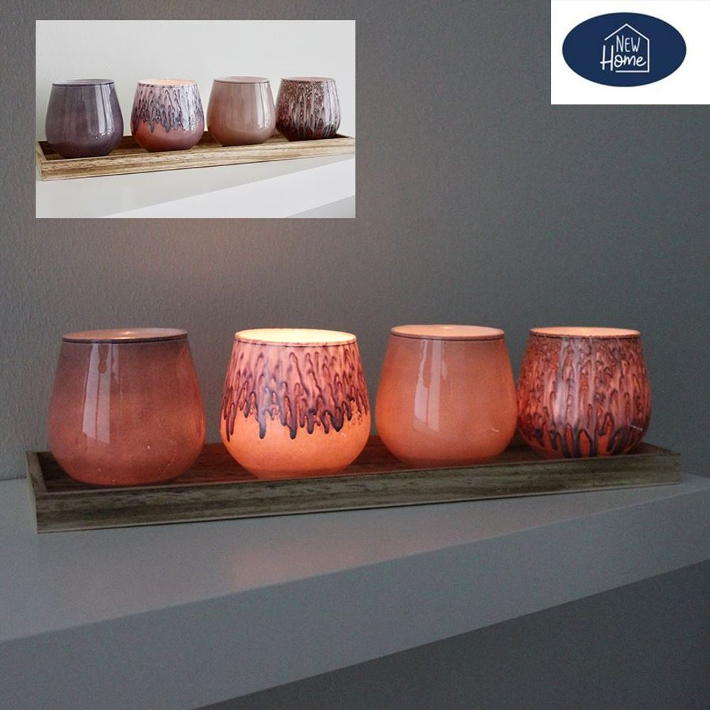 Glaskerzenhalter mit Holztablett Teelichthalter Kerzenständer Windlicht Deko – Bild 1