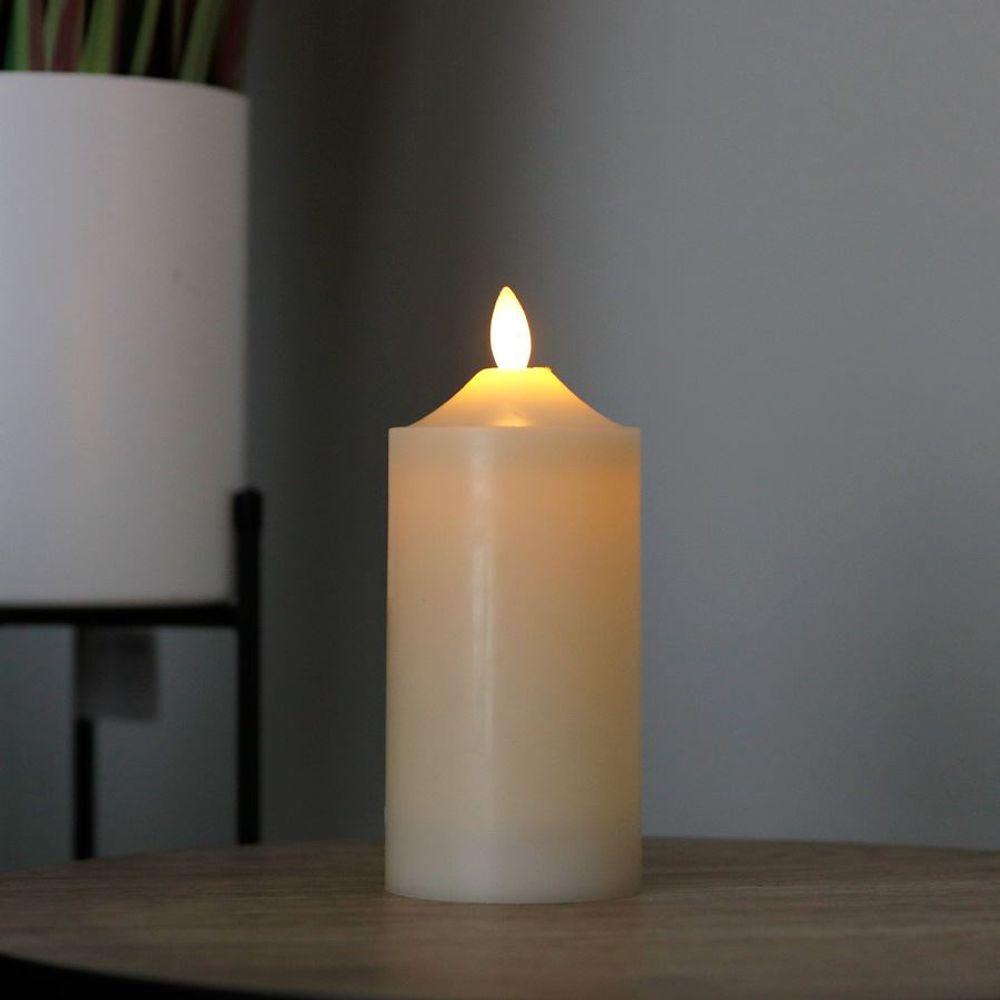 LED Wachskerze elfenbein 7,5x17,5cm Altarkerze Stumpenkerze Weihnachtskerze – Bild 1