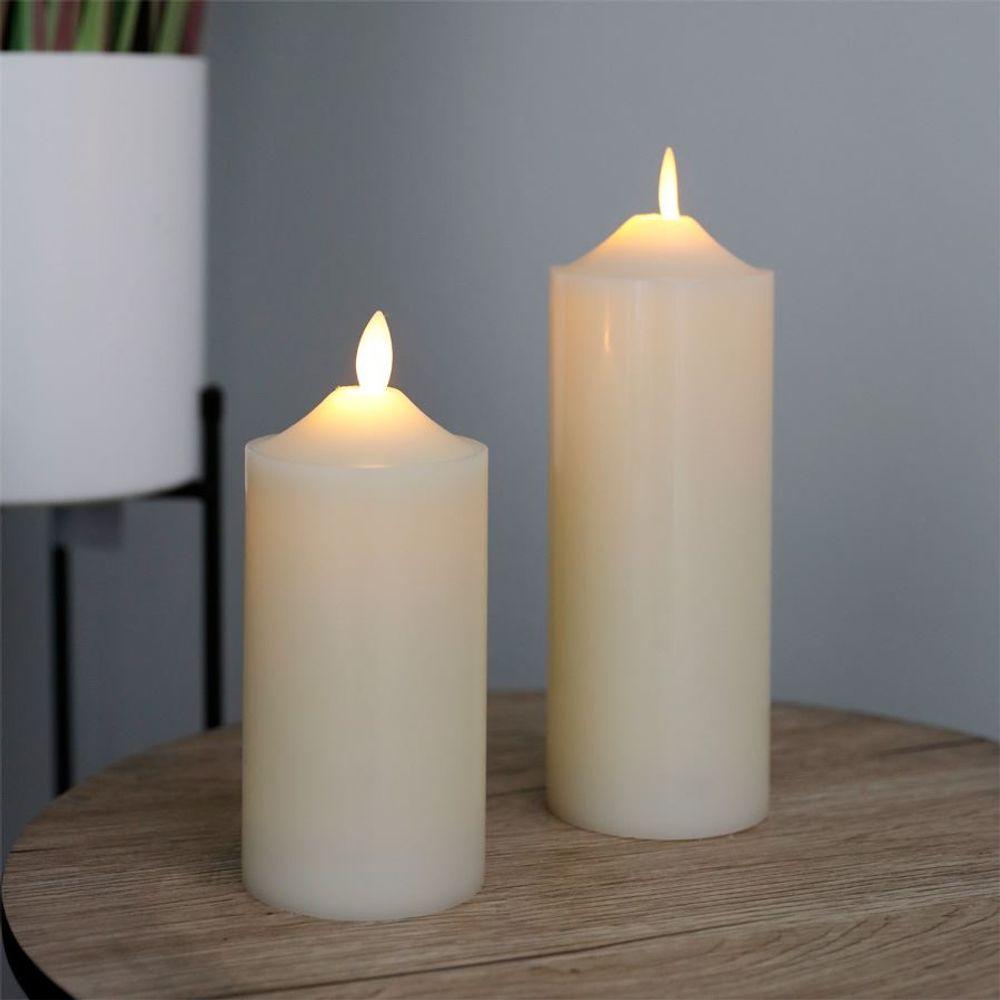 LED Wachskerze elfenbein 7,5x17,5cm Altarkerze Stumpenkerze Weihnachtskerze – Bild 2